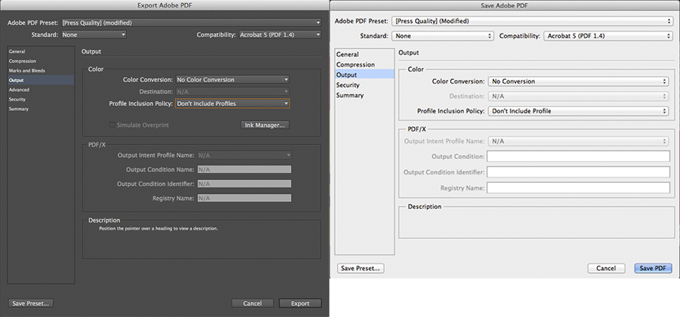Adobe InDesign Photoshop PDF Export Print Settings Recommended Output PrintNinja